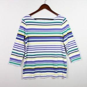 Talbots Women's 3/4 Sleeve Striped T Shirt Size M